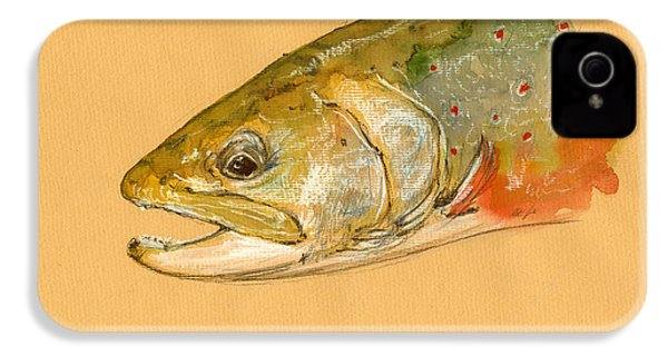 Trout Watercolor Painting IPhone 4 / 4s Case by Juan  Bosco