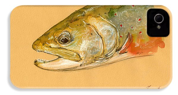 Trout Watercolor Painting IPhone 4 Case