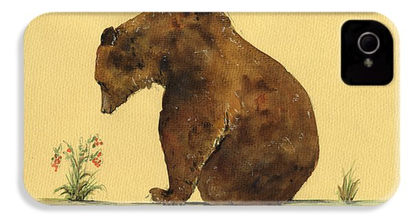 Grizzly Bear Watercolor Painting IPhone 4 Case by Juan  Bosco