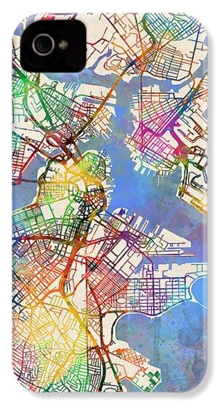 Boston Massachusetts Street Map IPhone 4 Case by Michael Tompsett