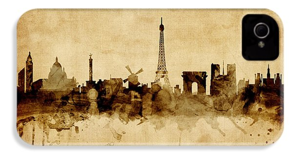 Paris France Skyline IPhone 4 Case by Michael Tompsett