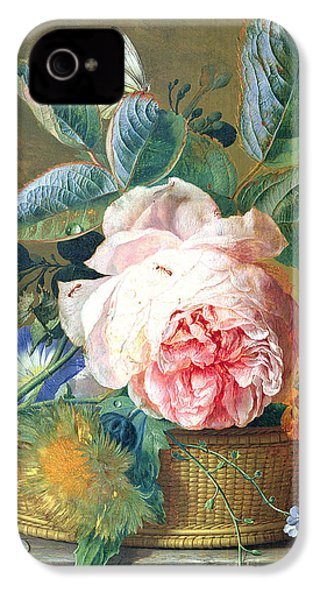 A Basket With Flowers IPhone 4 Case by Jan van Huysum