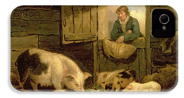 A Boy Looking Into A Pig Sty IPhone 4 Case by George Morland