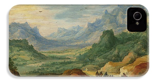 A Mountainous Landscape With Travellers And Herdsmen On A Path IPhone 4 Case by Jan Brueghel and Joos de Momper