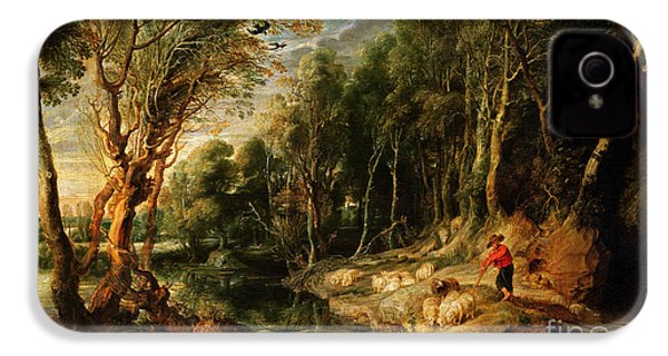 A Shepherd With His Flock In A Woody Landscape IPhone 4 Case