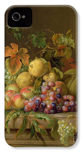 A Still Life Of Melons Grapes And Peaches On A Ledge IPhone 4 Case by Jakob Bogdani