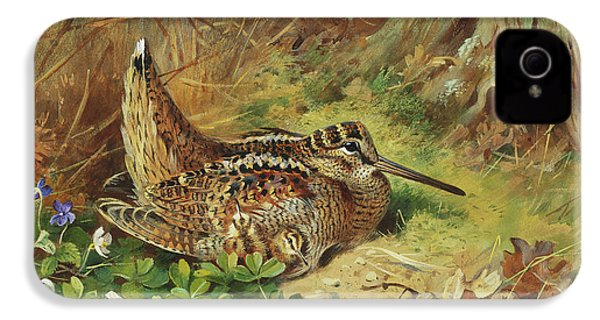 A Woodcock And Chicks IPhone 4 Case by Archibald Thorburn