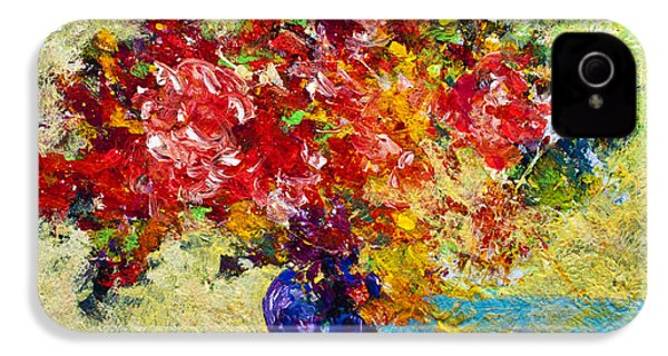 Abstract Floral 1 IPhone 4 Case by Marion Rose