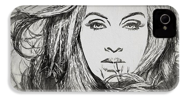 Adele Charcoal Sketch IPhone 4 Case by Dan Sproul