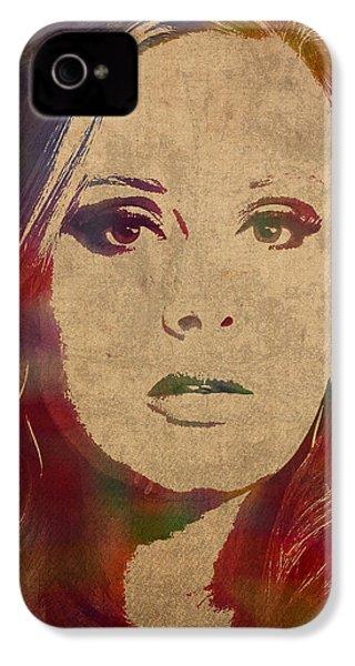 Adele Watercolor Portrait IPhone 4 Case
