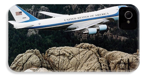 Air Force One Flying Over Mount Rushmore IPhone 4 / 4s Case by War Is Hell Store