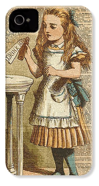 Alice In Wonderland Drink Me Vintage Dictionary Art Illustration IPhone 4 Case by Jacob Kuch