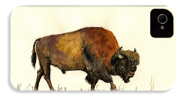American Buffalo Watercolor IPhone 4 Case by Juan  Bosco