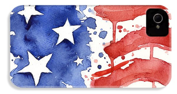 American Flag Watercolor Painting IPhone 4 Case