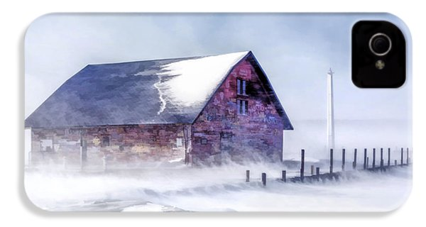 IPhone 4 Case featuring the painting Anderson Dock Winter Storm by Christopher Arndt