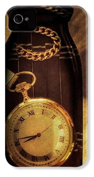 Antique Pocket Watch In A Bottle IPhone 4 Case by Susan Candelario
