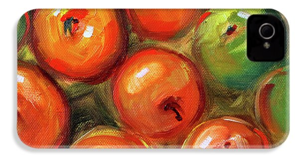 IPhone 4 Case featuring the painting Apple Barrel Still Life by Nancy Merkle