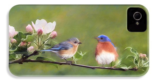 Apple Blossoms And Bluebirds IPhone 4 Case