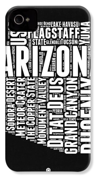 Arizona Black And White Word Cloud Map IPhone 4 / 4s Case by Naxart Studio
