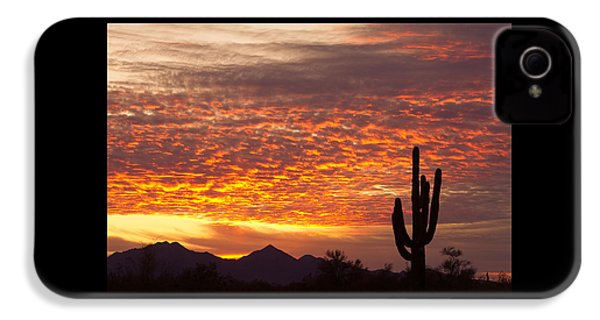Arizona November Sunrise With Saguaro   IPhone 4 Case