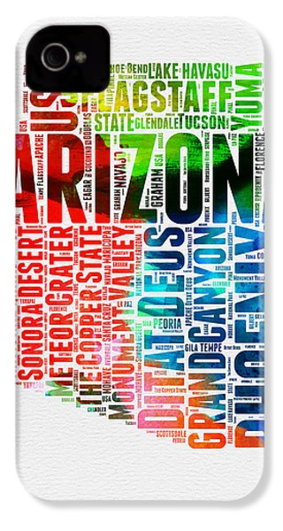 Arizona Watercolor Word Cloud Map  IPhone 4 / 4s Case by Naxart Studio
