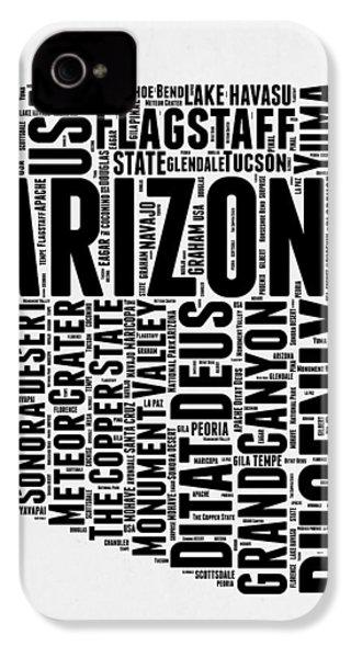 Arizona Word Cloud Map 2 IPhone 4 Case by Naxart Studio
