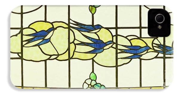 Arts And Crafts Panel Of A Group Of Swallows Before Clouds In A Border Of Flowers IPhone 4 Case