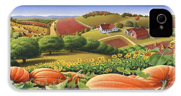 Farm Landscape - Autumn Rural Country Pumpkins Folk Art - Appalachian Americana - Fall Pumpkin Patch IPhone 4 / 4s Case by Walt Curlee