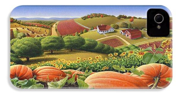 Farm Landscape - Autumn Rural Country Pumpkins Folk Art - Appalachian Americana - Fall Pumpkin Patch IPhone 4 Case