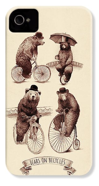 Bears On Bicycles IPhone 4 Case by Eric Fan