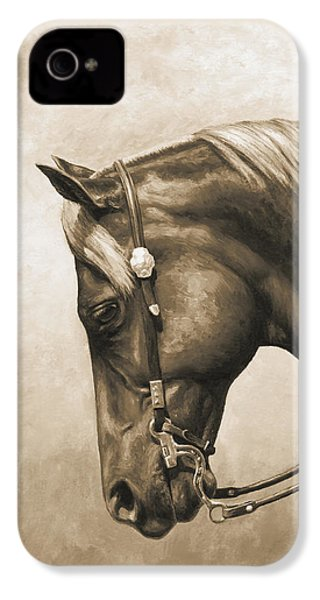 Western Horse Painting In Sepia IPhone 4 Case