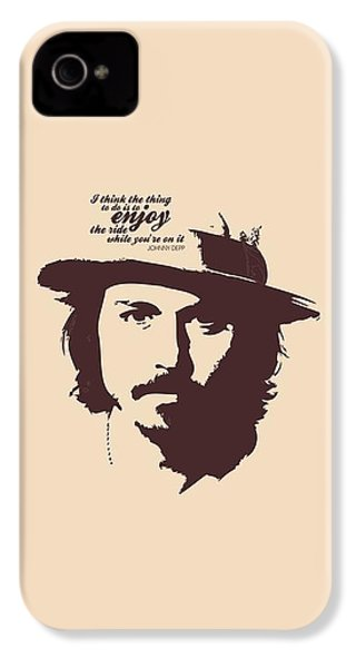 Johnny Depp Minimalist Poster IPhone 4 Case by Lab No 4 - The Quotography Department