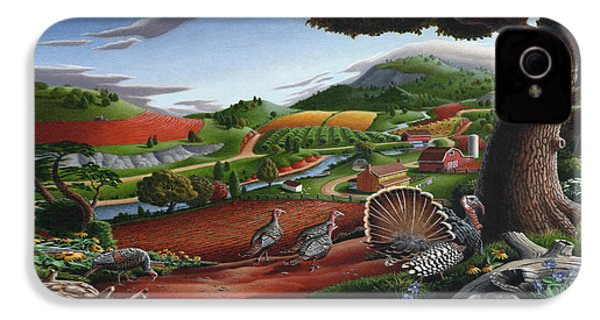 Wild Turkeys Appalachian Thanksgiving Landscape - Childhood Memories - Country Life - Americana IPhone 4 Case
