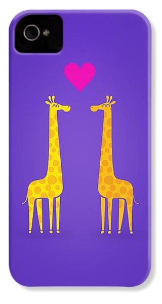 Cute Cartoon Giraffe Couple In Love Purple Edition IPhone 4 Case