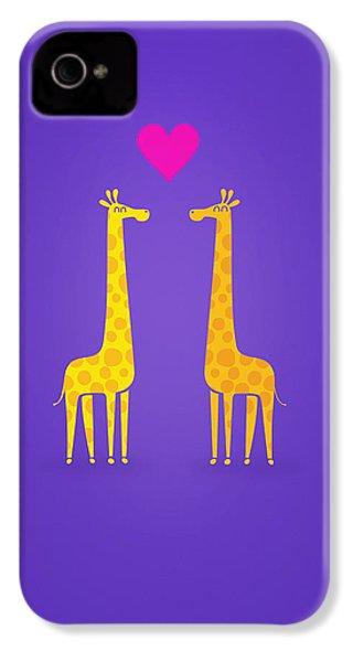 Cute Cartoon Giraffe Couple In Love Purple Edition IPhone 4 Case by Philipp Rietz