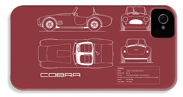 Ac Cobra Blueprint - Red IPhone 4 Case by Mark Rogan
