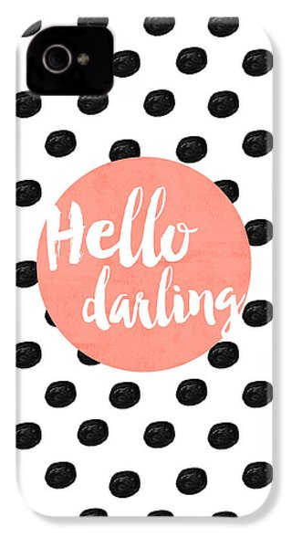 Hello Darling Coral And Dots IPhone 4 Case by Allyson Johnson
