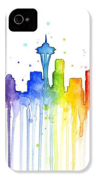Seattle Rainbow Watercolor IPhone 4 Case by Olga Shvartsur