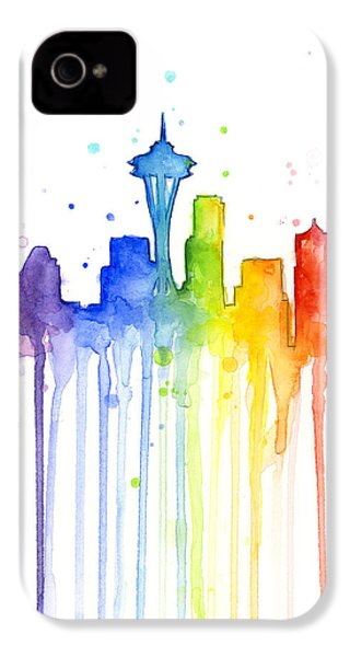 Seattle Rainbow Watercolor IPhone 4 / 4s Case by Olga Shvartsur