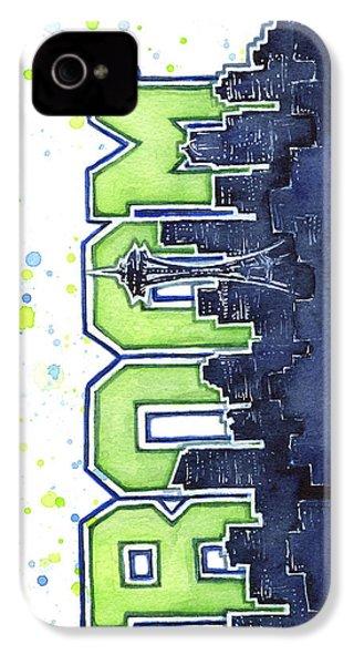 Seattle 12th Man Legion Of Boom Painting IPhone 4 Case by Olga Shvartsur