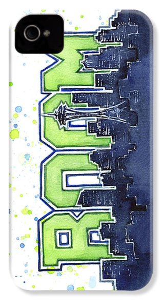 Seattle 12th Man Legion Of Boom Painting IPhone 4 Case by Olga Shvartsur
