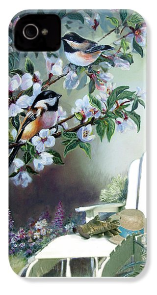 Chickadees In Blossom Tree IPhone 4 Case