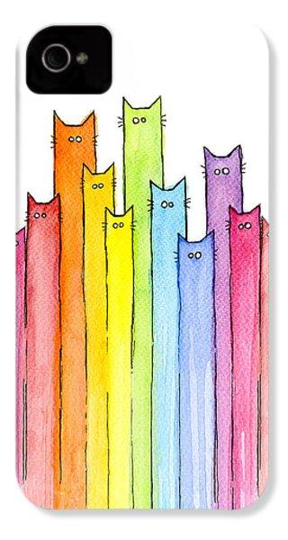 Cat Rainbow Pattern IPhone 4 Case