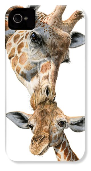 Mother And Baby Giraffe IPhone 4 Case by Sarah Batalka