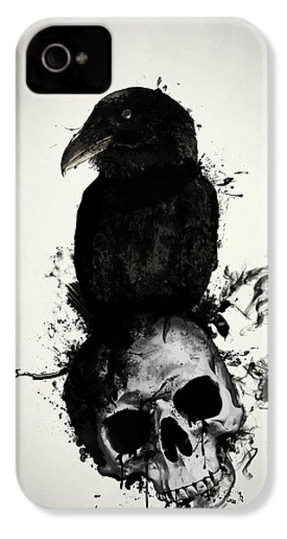 Raven And Skull IPhone 4 Case by Nicklas Gustafsson