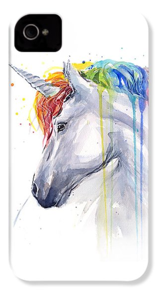 Unicorn Rainbow Watercolor IPhone 4 / 4s Case by Olga Shvartsur