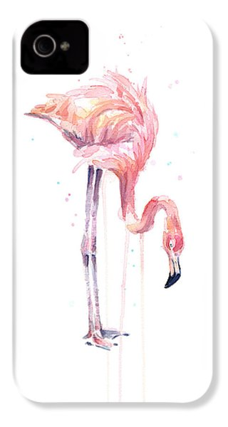 Flamingo Painting Watercolor IPhone 4 / 4s Case by Olga Shvartsur