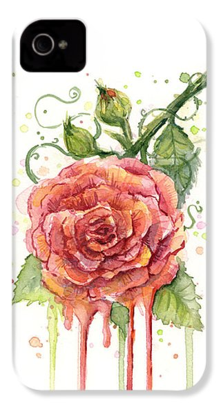 Red Rose Dripping Watercolor  IPhone 4 Case