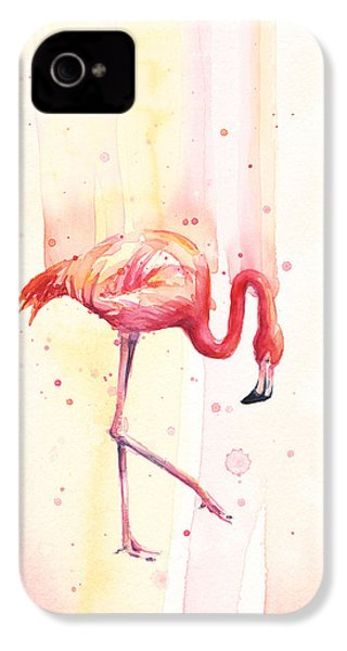 Pink Flamingo Watercolor Rain IPhone 4 / 4s Case by Olga Shvartsur