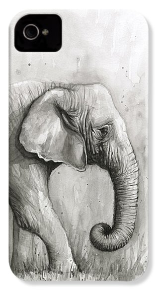 Elephant Watercolor IPhone 4 Case